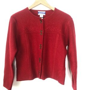 Vintage Pendleton 90's Red Virgin Wool Sweater.